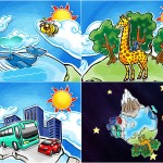 Criação de ilustração e animações para abertura de multimídia infantil - Cliente: Pearson, parceria Estação Gráfica